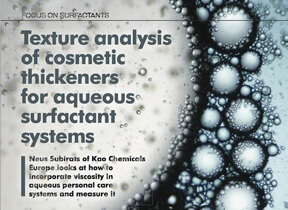 Texture analysis of cosmetic thickeners for aqueous surfactants systems