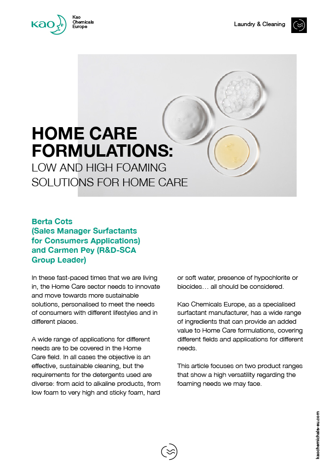 Home Care Formulations: Low and High foaming solutions for home care