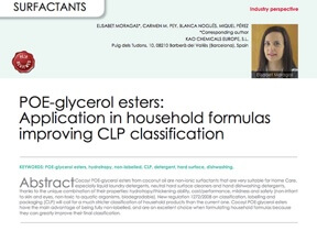POE-glycerol esters: Application in household formulas improving CLP classification