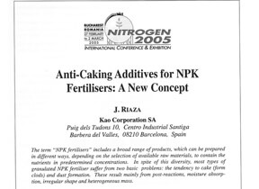 Anti-caking additives for NPK fertilizers : a new concept